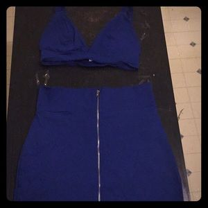 2 piece set crop top and skirt